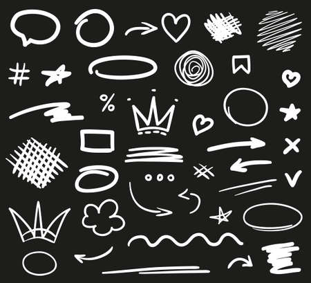 Hand drawn white elements on isolated black background. Freehand art. Abstract drawings. Hand drawn sketches. Black and white illustration