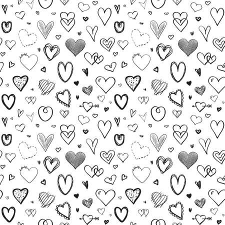 Hand drawn background with hearts. Seamless grunge wallpaper on surface. Line art. Texture for banner, flyer or poster. Valentine's day. Black and white illustration Ilustração