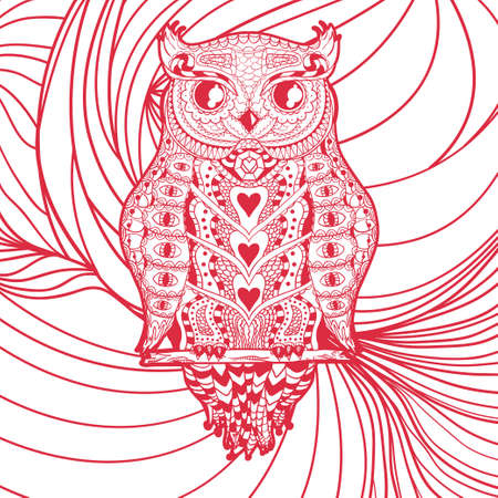 Square pattern with an abstract zen owl.  Hand drawn background. Colorful art. Freehand. Design for spiritual relaxation for adults
