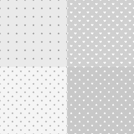 Set of backgrounds with stars and hearts. Seamless pattern. Textures for banner, flyer or poster. Black and white illustration