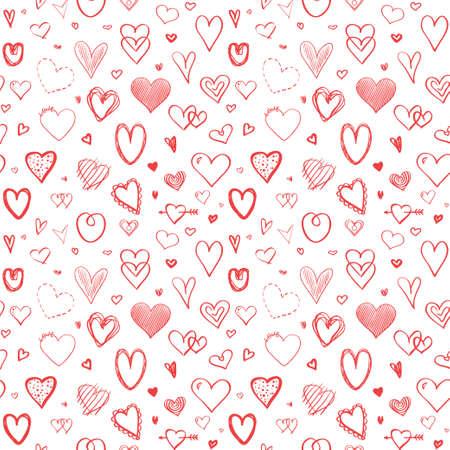 Hand drawn hearts. Universal background. Seamless texture. Art creation
