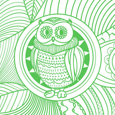 Square pattern. Abstract owl. Hand drawn colored background with abstract patterns. Colorful line art