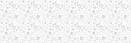 Monochrome background with hand drawn hearts. Seamless light pattern. Valentine's day. Black and white illustration Ilustração
