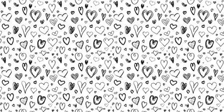 Hand drawn background with hearts. Seamless grunge texture for banner, flyer or poster. Valentine's day. Black and white illustration Ilustração
