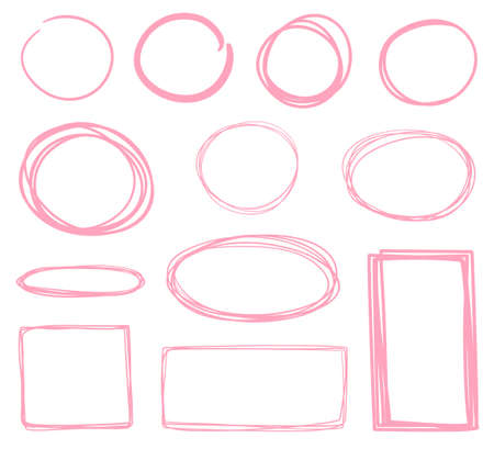 Hand drawn geometric shapes. Circle, oval, rectangle. Abstract frames. Freehand art. Colorful illustration Ilustração