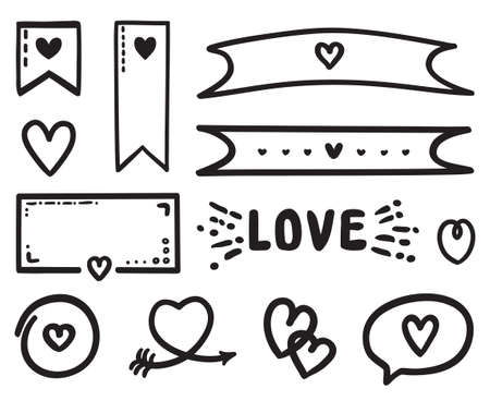 Hand drawn objects and hearts. Different elements for banner, flyer or poster. Valentine's day. Black and white illustration