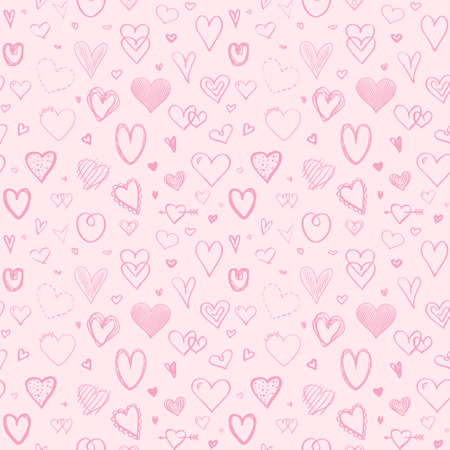 Hand drawn holiday background with hearts. Seamless light pattern. Valentine's day