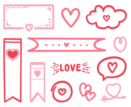 Colorful objects on isolated white background. Hand drawn abstract elements for design. Line art creation. Colored illustration. Holiday elements for poster or flyer. Valentine's day