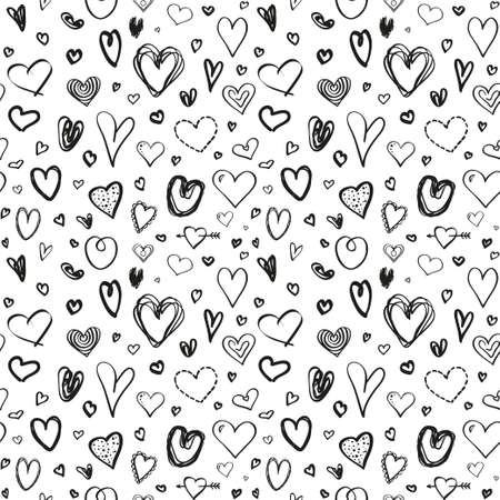 Hand drawn background with hearts. Seamless grunge pattern. Texture for banner, flyer or poster. Valentine's day. Black and white illustration Ilustração