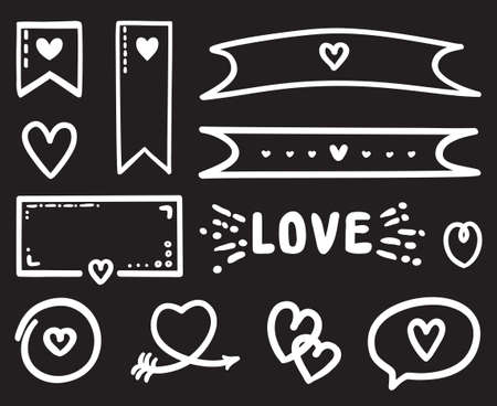 White infographic elements on isolated black background. Hand drawn holiday objects. Different elements for banner, flyer or poster. Valentine's day. Black and white illustration Ilustração