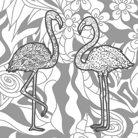Square pattern with zen flamingos. Ornate birds. Black and white illustration