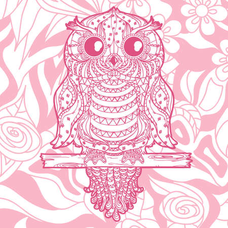 Colored square background with patterned owl. Hand drawn ornate pattern
