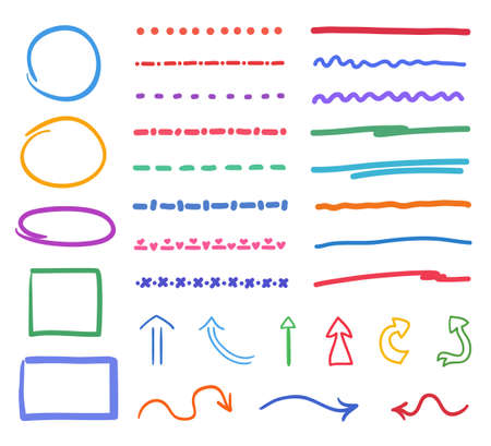 Hand drawn multicolored objects. Abstract simple elements. Sketchy doodles Ilustração