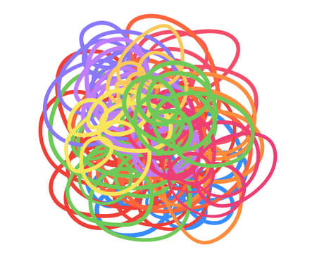 Hand drawn doodle. Colorful tangled shape on white. Colored chaotic pattern