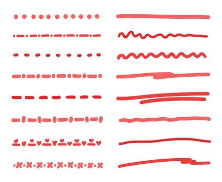 Hand drawn colored underline. Abstract simple underlines. Sketchy elements for design Ilustração