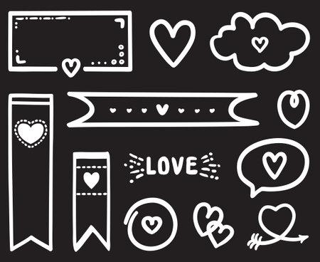 White infographic elements on isolated black background. Hand drawn elements for banner, flyer or poster. Valentine's day. Black and white illustration Ilustração