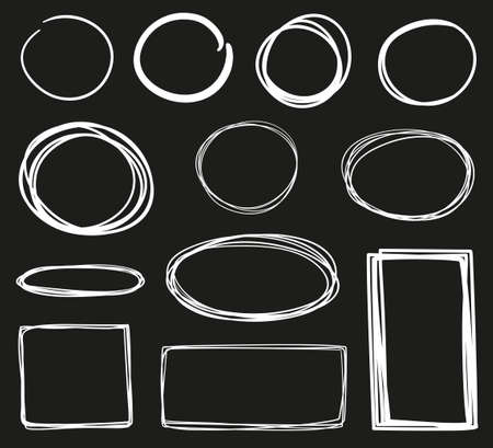 Hand drawn geometric shapes. Circle, oval, rectangle. White outline elements on isolated black background. Freehand art. Abstract sketches. Black and white illustration Ilustração