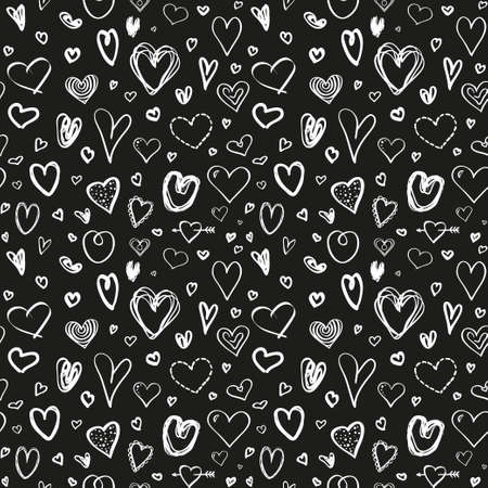 Hand drawn background with hearts. Seamless texture for banner, flyer or poster. Valentine's day. Black and white illustration