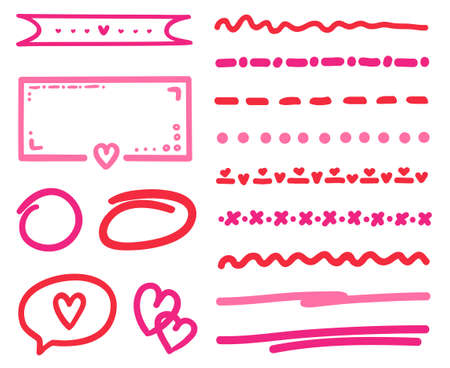 Hand drawn colored elements. Abstract simple underlines. Sketches for design. Freehand art. Valentine's day