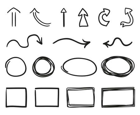 Black infographic elements on isolated white background. Hand drawn wavy arrows. Set of different pointers. Abstract geometric shapes. Black and white illustration