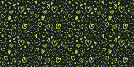 Hand drawn background with colored hearts. Seamless texture. Heart pattern. Print for banner, flyer or poster. Colorful illustration