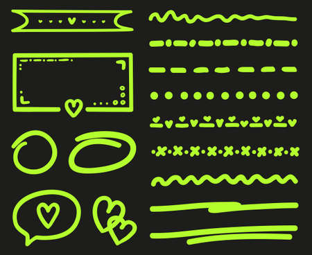 Infographic elements on isolated black background. Colored set of sketchy objects. Hand drawn simple signs and symbols