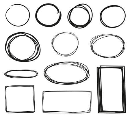 Hand drawn frames on white. Abstract frameworks. Line art. Set of different geometric shapes. Black and white illustration Ilustração