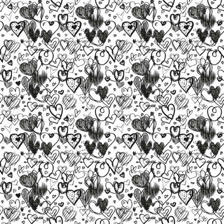 Hand drawn background with hearts. Seamless pattern. Texture for banner, flyer or poster. Valentine's day. Black and white illustration