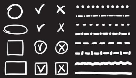 White infographic elements on isolated black background. Set of doodles