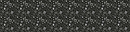 Hand drawn holiday background with hearts. Seamless pattern. Texture for banner, flyer or poster. Valentine's day. Black and white illustration