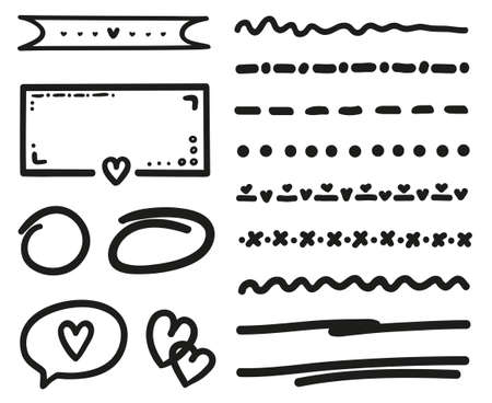 Romantic love elements. Outlined objects. Happy Valentines Day. Be my Valentine. Holiday doodles. Black and white illustration