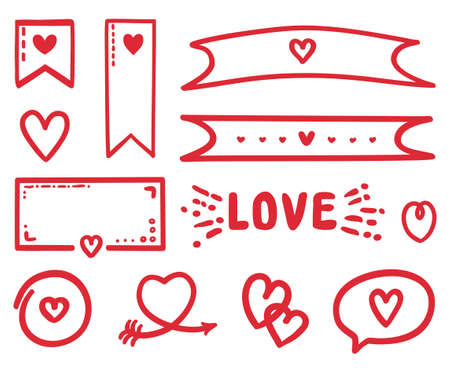 Romantic love elements on isolated white background. Colorful outlined objects. Happy Valentines Day. Be my Valentine. Holiday doodles Ilustração