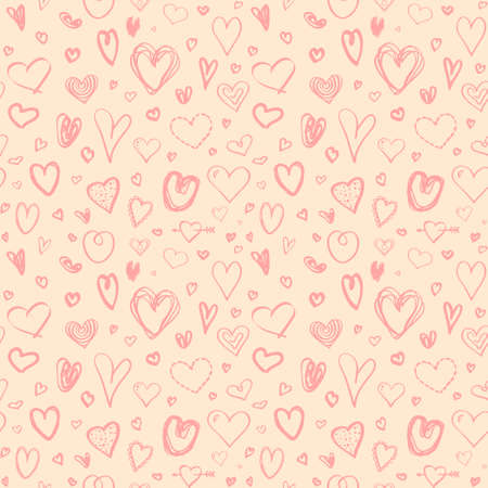 Colored pattern with hearts. Seamless texture. Print for your design. Freehand art. Valentine's day