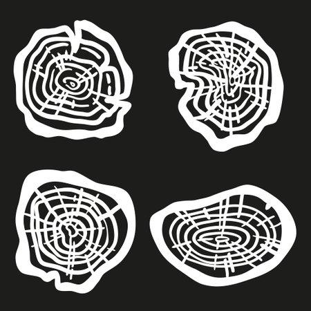 White tree rings on black. Set of hand drawn objects on isolated background. Black and white illustration Ilustração
