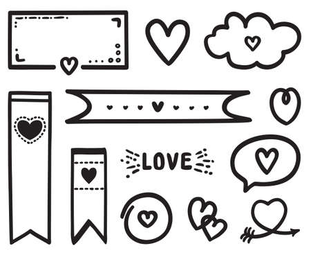 Hand drawn doodle. Outlined love elements on isolation background. Elements are drawn in a linear style. Valentine's day. Black and white illustration Ilustração