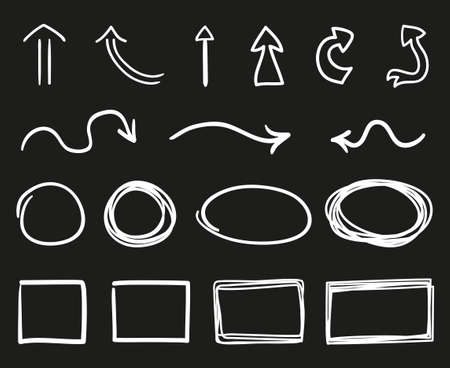 Hand drawn sketchy arrows and geometric shapes. Circle, square, oval, rectangle. White outlined elements on isolated black background. Freehand art. Black and white illustration