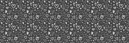 Hand drawn background with hearts. Seamless texture for banner, flyer or poster. Happy Valentines Day. Be my Valentine. Black and white illustration