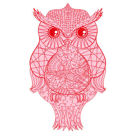 Owl. Design . Detailed hand drawn vintage owl with abstract patterns on isolation background. Design for spiritual relaxation for adults