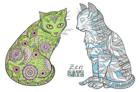 Hand drawn cat with abstract patterns on isolation background. Design for spiritual relaxation for adults 向量圖像