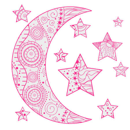 Crescent moon and stars with abstract patterns on isolation background. Design for spiritual relaxation for adults. Line creation