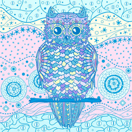 Owl. Square colored mandala. Eastern pattern. Hand drawn mandala with abstract patterns on isolation background. Design for spiritual relaxation for adults 向量圖像