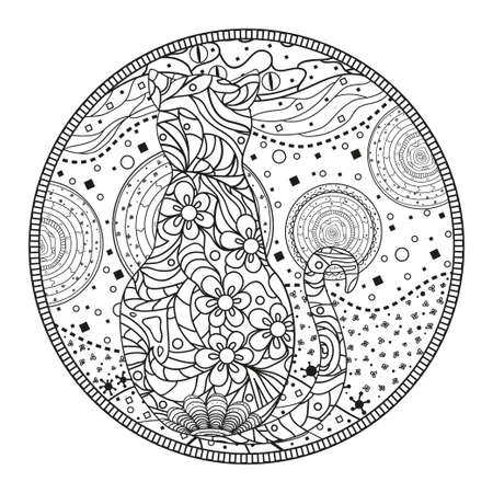 Cat. Circle mandala. Hand drawn animal with abstract patterns on isolation background. Design for spiritual relaxation for adults. Outline for t-shirts. Print for polygraphy, posters and textiles