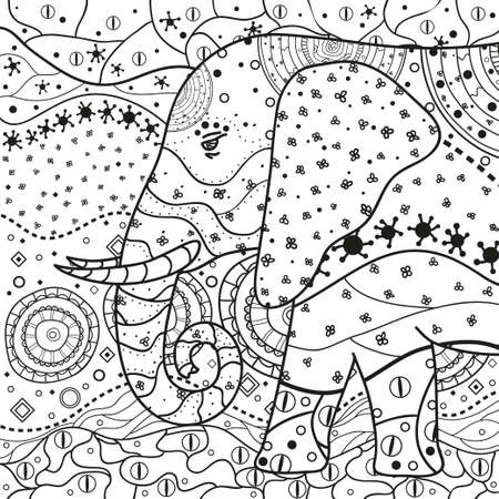 Mandala. Elephant. Hand drawn pattern on isolation background. Design for spiritual relaxation for adults. Line art creation. Black and white illustration for coloring.
