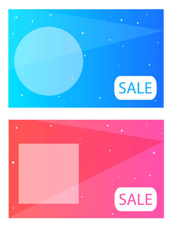Blue and pink doodles with geometric stars; geometric layout with your text