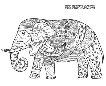 Elephant. Hand drawn elephant with abstract patterns on isolation background. Design for spiritual relaxation for adults. Black and white illustration for coloring. Zen art 向量圖像