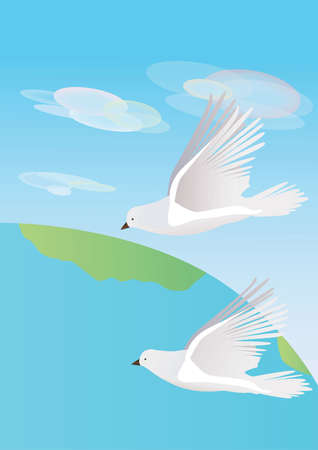 Two white doves on earth background