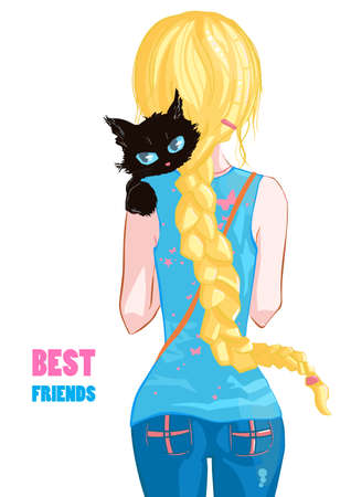 Blonde girl with a black cat on white background. Best friends