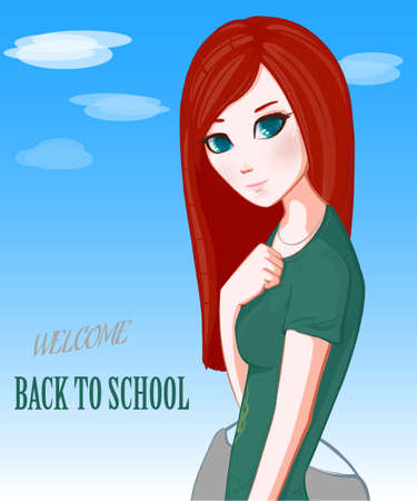 Red-haired girl. Back to school.