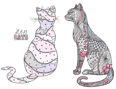 Zen cats.   Hand drawn cat with abstract patterns on isolation background. Design for spiritual relaxation for adults. Zen art 向量圖像