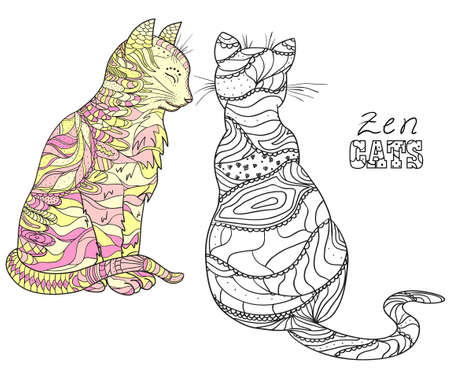 Zen cats.   Hand drawn cat with abstract patterns on isolation background. Design for spiritual relaxation for adults. Black and white illustration for coloring. Zen art 向量圖像